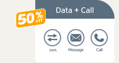 Data + CALL 50% OFF